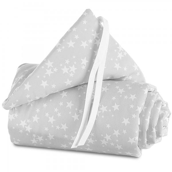 babybay Nestchen Piqué passend für Modell Maxi, Boxspring, Comfort und Comfort Plus, perlgrau Sterne weiß