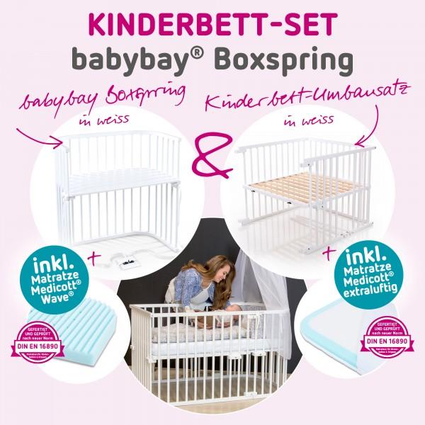 babybay Kinderbett-Set Boxspring mit Matratze Medicott Wave und Umbausatzmatratze Medicott extraluftig