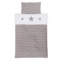 babybay Kinderbettwäsche Piqué, taupe Sterne weiß mit Applikation Stern