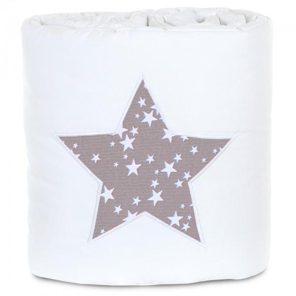 babybay Nestchen Piqué passend für Modell Original, weiß Applikation Stern taupe Sterne weiß