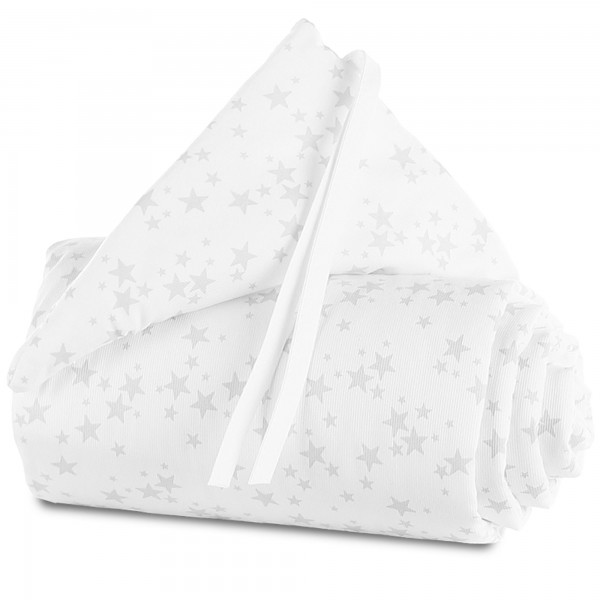 babybay Nestchen Piqué passend für Modell Maxi, Boxspring, Comfort und Comfort Plus, weiß Sterne perlgrau