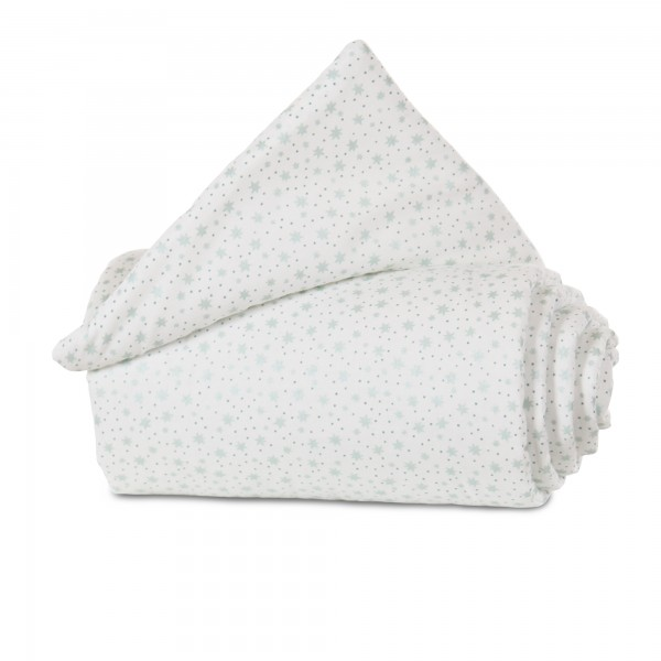 babybay Nestchen Organic Cotton passend für Modell Maxi, Boxspring und Comfort, weiß Glitzersterne mint
