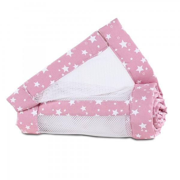 babybay Nestchen Mesh-Piqué passend für Modell Maxi, Boxspring, Comfort und Comfort Plus, beere Sterne weiß