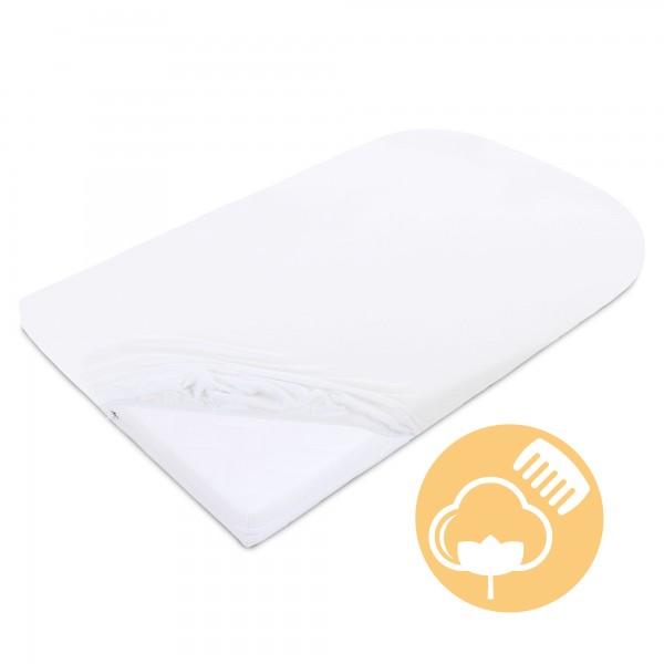 babybay Jersey Spannbetttuch Deluxe passend für Modell Matratze Kinderbett-Umbausatz Original und Maxi weiß