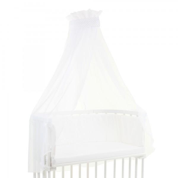 babybay Himmel Piqué mit Band passend für alle Modelle, weiß Punkte perlgrau
