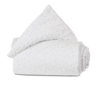 babybay Nestchen Organic Cotton passend für Modell Maxi, Boxspring und Comfort, weiß Glitzersterne diamantblau