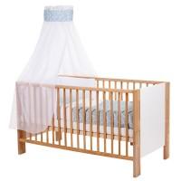 babybay Kinderbetthimmel Piqué mit Band für Applikation Stern azurblau Sterne weiß