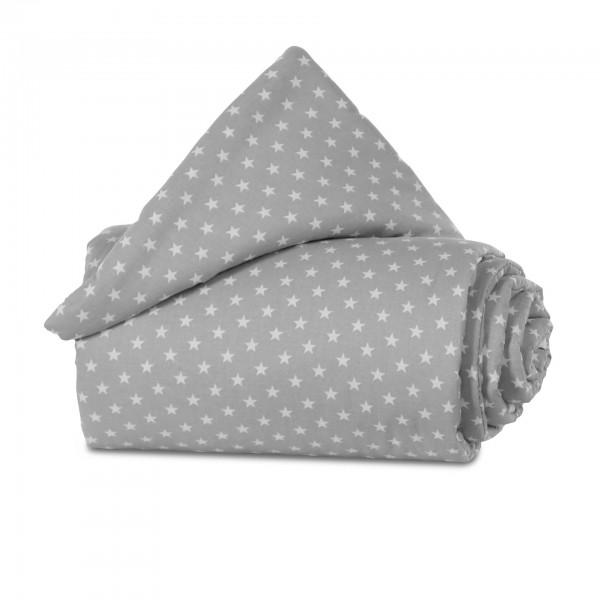 babybay Nestchen Organic Cotton für Midi und Mini, lichtgrau Sterne weiß