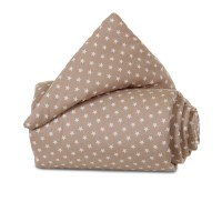 babybay Nestchen Organic Cotton passend für Modell Midi und Mini, hellbraun Sterne weiß
