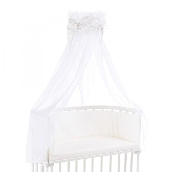 babybay Himmel Organic Cotton mit Schleife passend für alle Modelle, weiß Glitzersterne silber