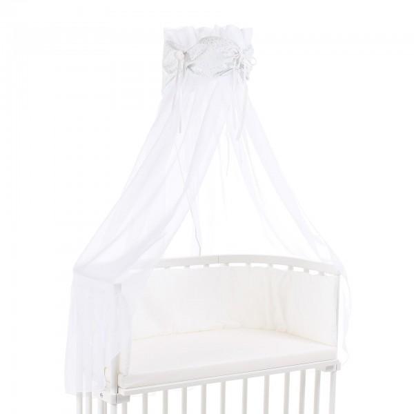 babybay Himmel Organic Cotton mit Schleife passend für alle Modelle, weiß Glitzersterne diamantblau