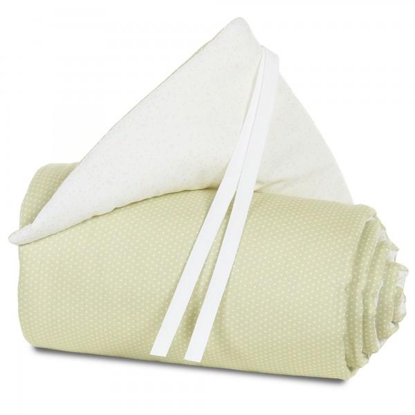 babybay Nestchen Organic Cotton für Midi und Mini, lindgrün Punkte weiß