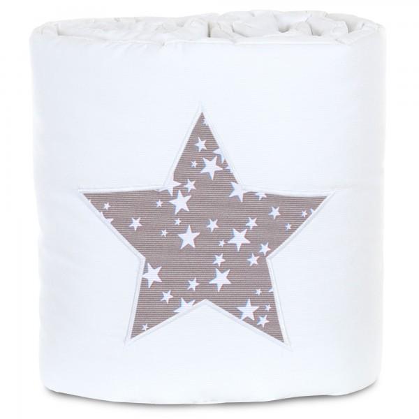 babybay Nestchen Piqué passend für Modell Maxi, Boxspring und Comfort, weiß Applikation Stern taupe Sterne weiß