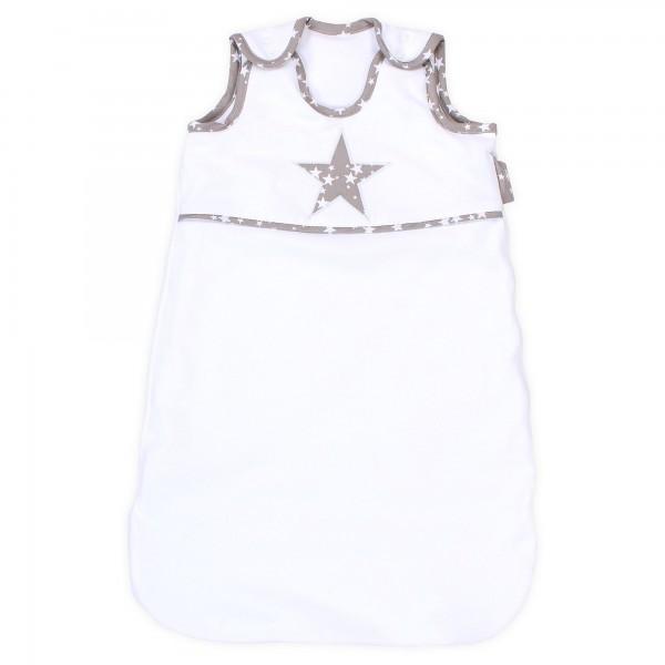 babybay Schlafsack Organic Cotton, weiß Applikation Stern taupe Sterne weiß