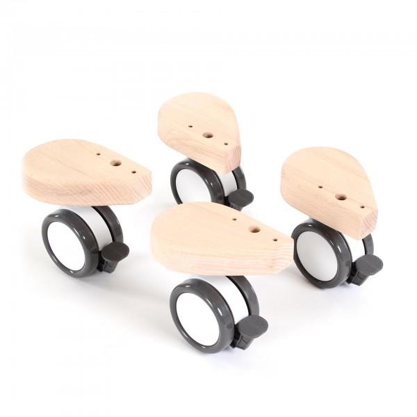 babybay Rollensatz Spezial mit Stoßschutz passend für alle Modelle, natur unbehandelt