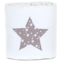 babybay Nestchen Piqué passend für Modell Boxspring XXL, weiß Applikation Stern taupe Sterne weiß