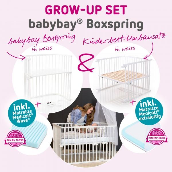 babybay Grow-up Set Boxspring mit Matratze Medicott Wave und Umbausatzmatratze Medicott extraluftig