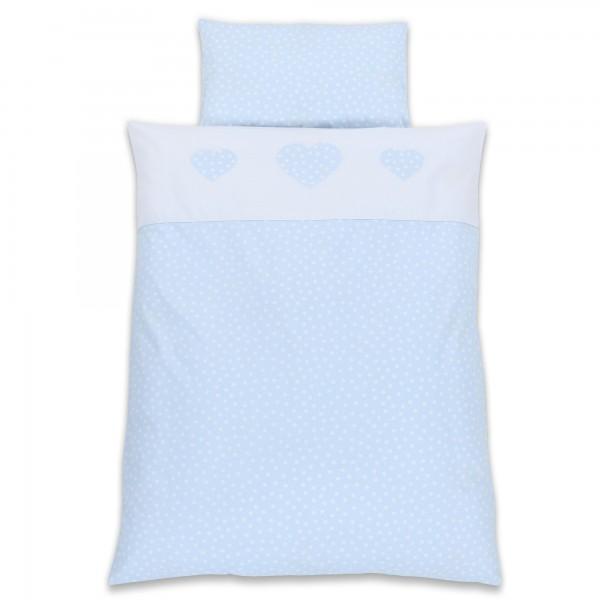 babybay Kinderbettwäsche Piqué, hellblau Punkte weiß Applikation Herz