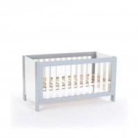 Baby-, Kinder und Beistellbett All in One 70x140, hellgrau/weiß lackiert
