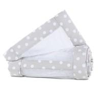 babybay Nestchen Mesh-Piqué passend für Modell Maxi, Boxspring, Comfort und Comfort Plus, perlgrau Punkte weiß