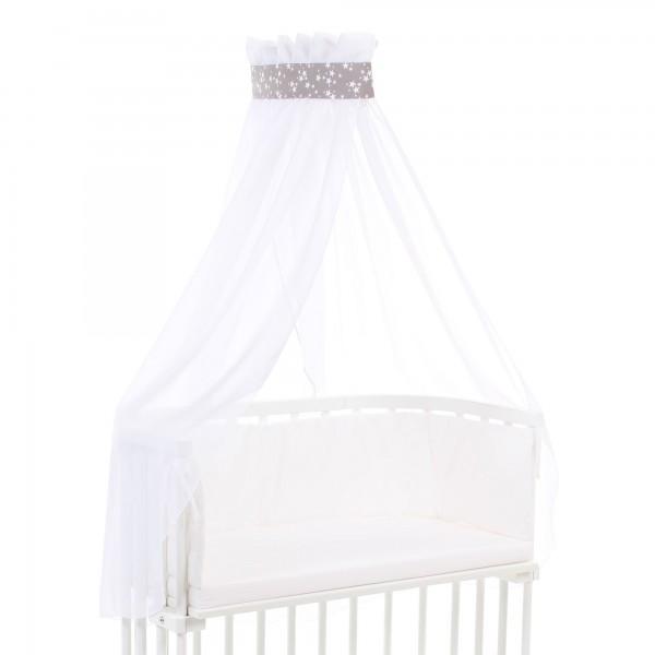 babybay Himmel Piqué mit Band passend für alle Modelle, taupe Sterne weiß