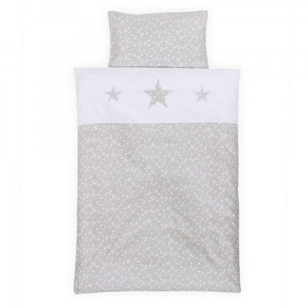 babybay Kinderbettwäsche Piqué, perlgrau Sterne weiß mit Applikation Stern