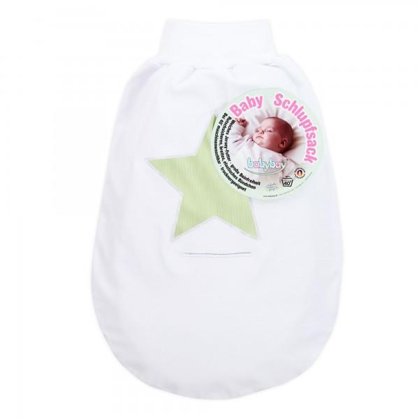 babybay Schlupfsack Organic Cotton mit Gurtschlitz, weiß Applikation Stern grün