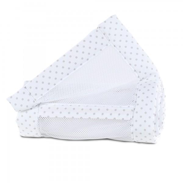 babybay Nestchen Mesh-Piqué passend für Modell Maxi, Boxspring, Comfort und Comfort Plus, weiß Punkte perlgrau
