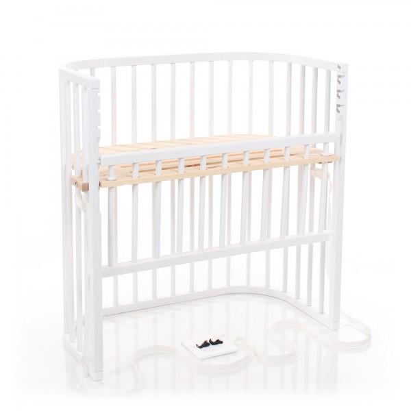 babybay Boxspring Comfort Beistellbett, weiß lackiert mit Liegefläche aus Zirbelkiefer