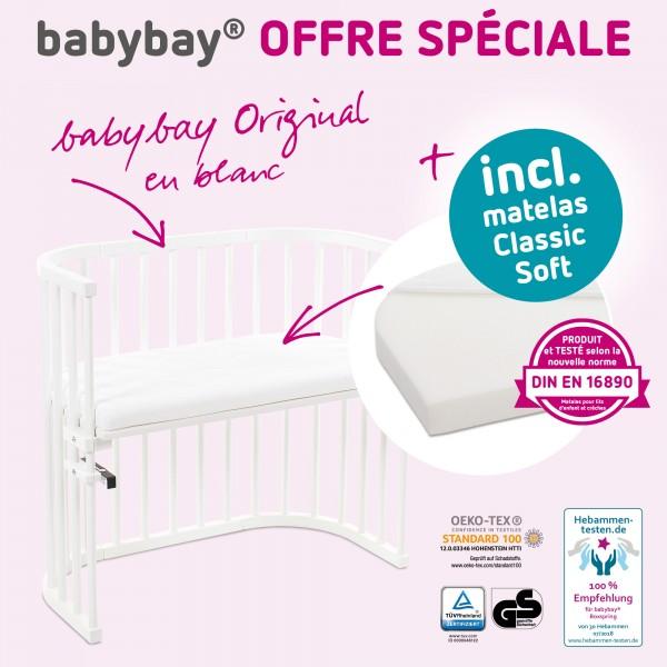 babybay Original Beistellbett Sonderangebot, weiß lackiert mit Matratze Classic Soft