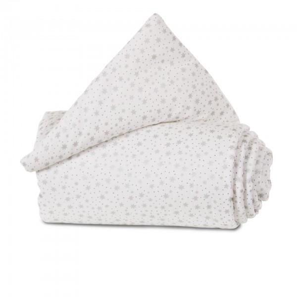 babybay Gitterschutz Organic Cotton für Verschlussgitter alle Modelle, weiß Glitzersterne silber