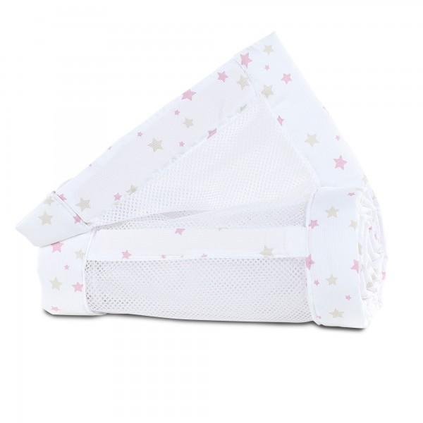 babybay Nestchen Mesh-Piqué passend für Modell Maxi, Boxspring und Comfort, weiß Sternemix sand/beere