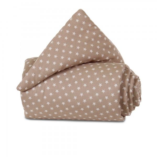 babybay Nestchen Organic Cotton passend für Modell Maxi, Boxspring und Comfort, hellbraun Sterne weiß