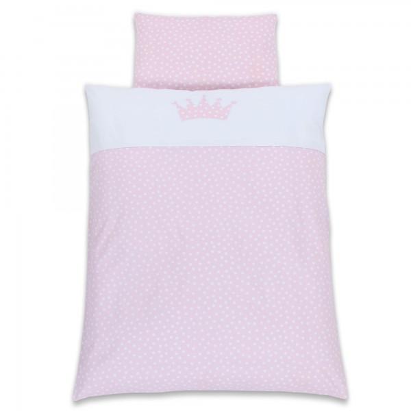 babybay Kinderbettwäsche Piqué, zartrosa Punkte weiß Applikation Krone