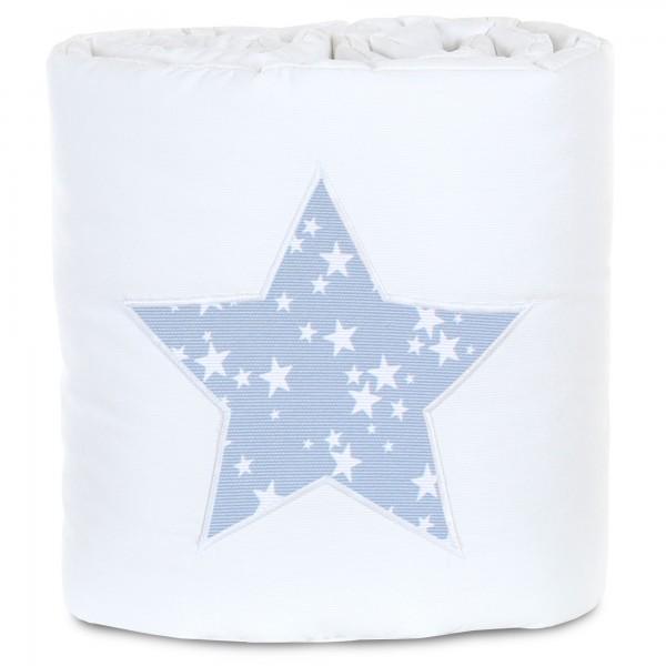 babybay Nestchen Piqué passend für Modell Maxi, Boxspring, Comfort und Comfort Plus, weiß Applikation Stern azurblau Sterne weiß