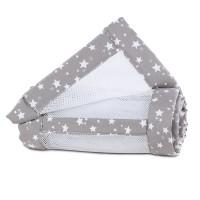 babybay Nestchen Mesh-Piqué passend für Modell Maxi, Boxspring und Comfort, taupe Sterne weiß