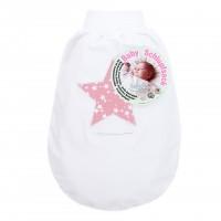 babybay Schlupfsack Organic Cotton mit Gurtschlitz, weiß Applikation Stern beere Sterne weiß