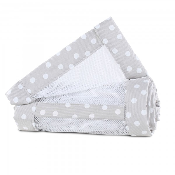 babybay Nestchen Mesh-Piqué passend für Modell Maxi, Boxspring und Comfort, perlgrau Punkte weiß