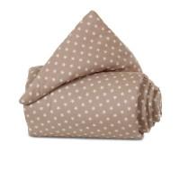 babybay Nestchen Organic Cotton passend für Modell Maxi, Boxspring, Comfort und Comfort Plus, hellbraun Sterne weiß