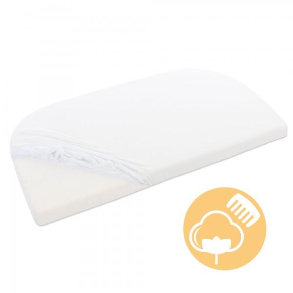 babybay Jersey Spannbetttuch Deluxe mit Membran passend für Modell Verlängerungsseite Original, Maxi, Midi und Boxspring, weiß