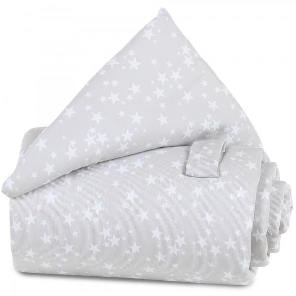 babybay Gitterschutz Piqué für Verschlussgitter alle Modelle, perlgrau Sterne weiß