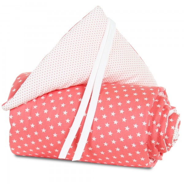 babybay Nestchen Organic Cotton für Midi und Mini, pfirsich Sterne weiß