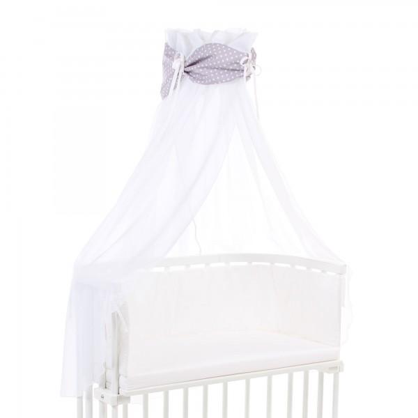 babybay Himmel Organic Cotton mit Schleife passend für alle Modelle, lichtgrau Sterne weiß
