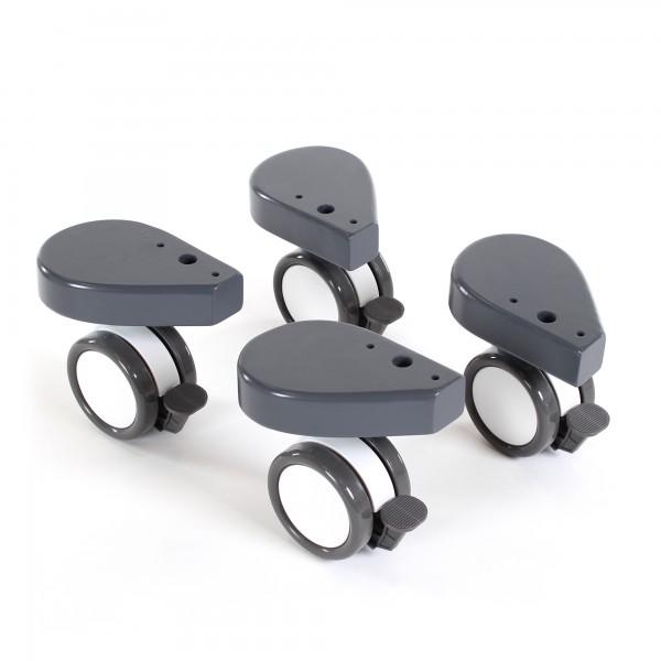 babybay Rollensatz Spezial mit Stoßschutz passend für alle Modelle, schiefergrau lackiert