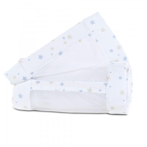 babybay Nestchen Mesh-Piqué passend für Modell Maxi, Boxspring, Comfort und Comfort Plus, weiß Sternemix sand/azurblau