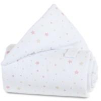 babybay Gitterschutz Piqué für Verschlussgitter alle Modelle, weiß Sternemix sand/beere