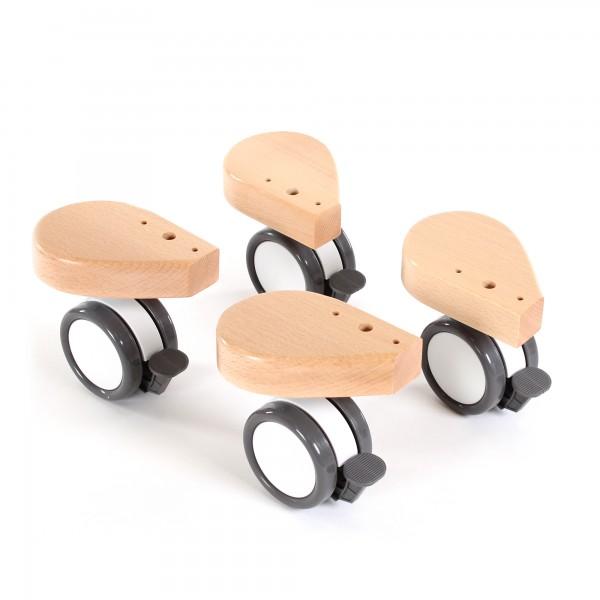 babybay Rollensatz Spezial mit Stoßschutz passend für alle Modelle, natur lackiert