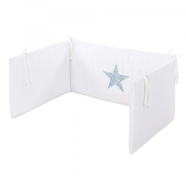 babybay Kinderbettnestchen Piqué, weiß Applikation Stern azurblau Sterne weiß