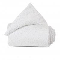 babybay Nestchen Organic Cotton für Maxi, Boxspring und Comfort, weiß Glitzersterne diamantblau
