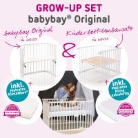 babybay Grow-up Set Original mit Matratze Klima Wave und Umbausatzmatratze Klima extraluftig